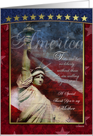 Mother Gold Stars and Statue of Liberty Patriotic Card
