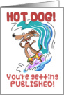Congratulations getting published- Surfing Dachshund card