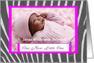 Zebra print Birth Announcement Girl card
