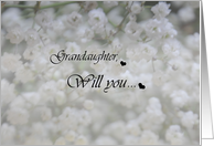 Grandaughter ,Will you baby's breath Flower girl card