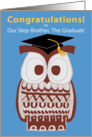 Wise Owl Graduation Card - Our Step-Brother card