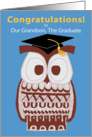 Wise Owl Graduation Card - Our Grandson card
