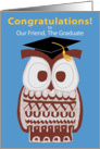 Wise Owl Graduation Card - Our Friend card