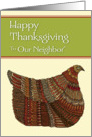 Happy Thanksgiving Harvest Hen to Our Neighbor card