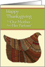Happy Thanksgiving Harvest Hen to Our Mother and Her Partner card