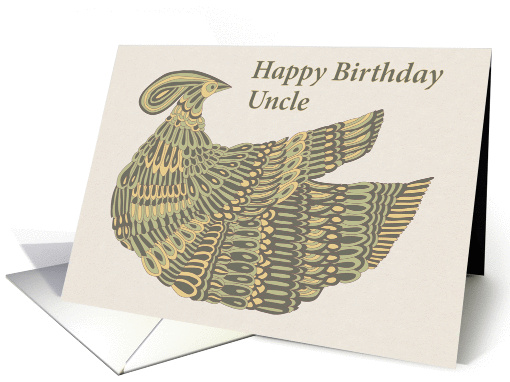 Happy Birthday Uncle - Art Nouveau Dinesh Bird card (1158502)