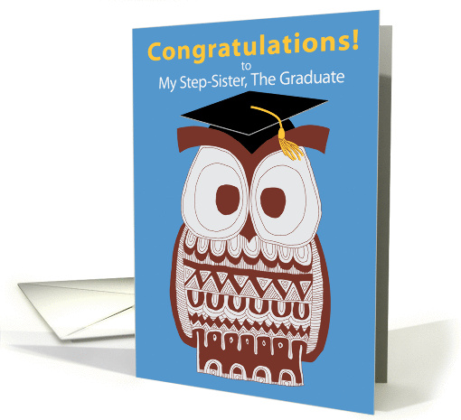 Wise Owl Graduation Card - My Step-Sister card (1220704)
