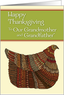 Happy Thanksgiving Harvest Hen to Our Grandmother and Grandfather card