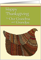 Happy Thanksgiving Harvest Hen to Our Grandma and Grandpa card