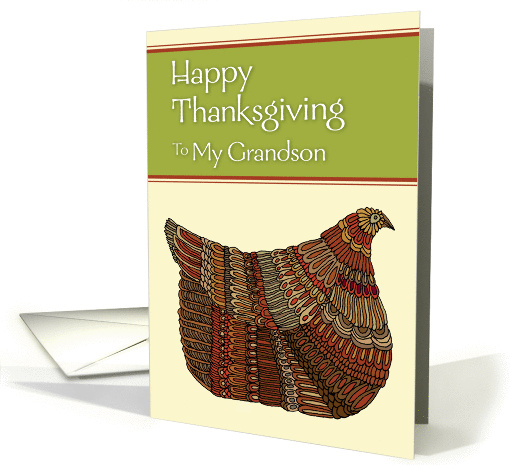 Happy Thanksgiving Harvest Hen to My Grandson card (952243)