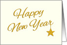 Elegant Happy New Year in Gold Color Text card