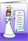 The Pawn is gone, decrees the Queen Divorce Congratulations card