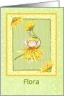 Custom Ballerina Mouse Dressed In Yellow Flowers, Girls Birthday card