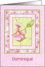 Custom Ballerina Mouse Dressed In Pink Flowers, Girls Birthday card