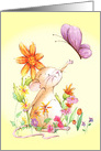Sweet Mouse in a Field of Flowers Wishing a Friendly Happy Birthday card