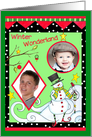Merry Christmas Snowman Photo Card