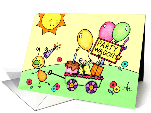 Kids Buggy Party Wagon Birthday card (1064753)