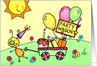 Kids Buggy Party Wagon Birthday Card
