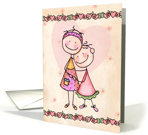 Happy Mother's Day From Daughter - Cute Stick Figures card (1064767)
