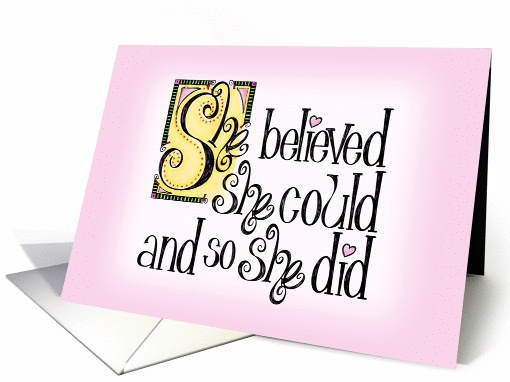 She Believed She Could Announcement card (1280750)