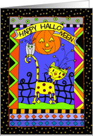 Happy Halloween Funky Cat Card
