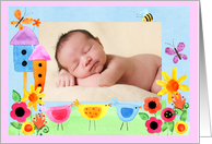Whimsical Pastel Flower Garden Birth Announcement, Photo Insert card