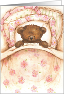 Get Well Teddy Bear Girl in Pink Floral Bed card