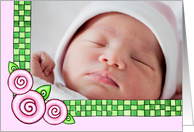 Pink Roses New Baby Girl Photo Card