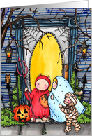 Costumed Kids Trick Or Treat Halloween Card