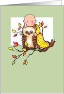 1st Autumn Baby & Owl Thanksgiving Card