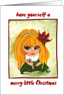 Happy Merry Holidays Little Brown Eyed Girl Candy Cane and Poinsettia card