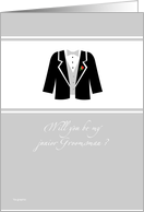 Will you be my junior Groomsman ? - elegant tux card