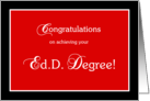 Red and black Ed.D. graduation congratulations card