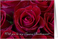 Red roses - Will you be my junior bridesmaid invitation card