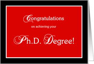 Red and black Ph.D. graduation congratulations card