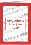 Merry Christmas to our Piano Teacher - music score card