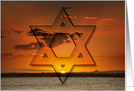 Star of David red gold sunset over water - Shalom at Pesach card
