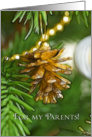 Gold pine cone on Christmas tree, Merry Christmas Parents card