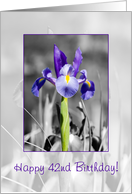 Happy 42nd Birthday - Selectively colored blue iris card