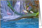 Birthday, 67th, Tropical Waterfall, Flamingos and Ibises card