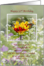 Birthday, 57th, Tulip and Butterfly, Religious card
