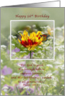 Birthday, 56th, Tulip and Butterfly, Religious card