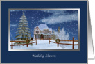 Christmas, Welsh, Nadolig Llawen, Winter Scene card