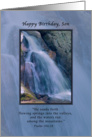 Birthday, Son, Religious, Mountain Waterfall card