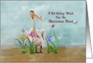 Birthday, Aunt, Pelican, Flowers and Butterflies card