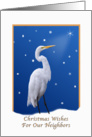 Christmas, Neighbors, Religious, Great Egret Bird card