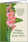 Birthday, Great Aunt, Pink Gladiolus, Religious card