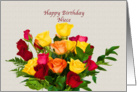 Birthday, Niece, Bouquet of Roses card