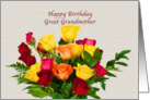 Birthday, Great Grandmother, Bouquet of Roses card