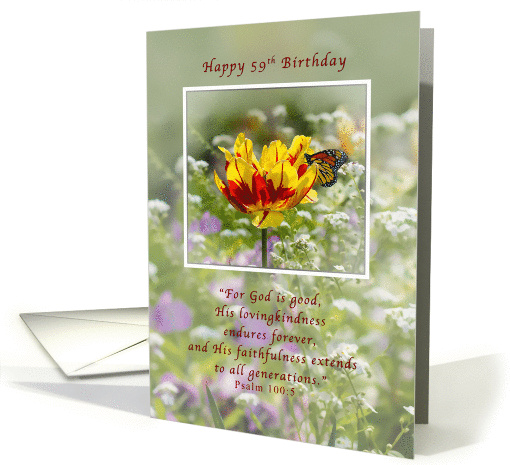 Birthday, 59th, Tulip and Butterfly, Religious card (1136824)